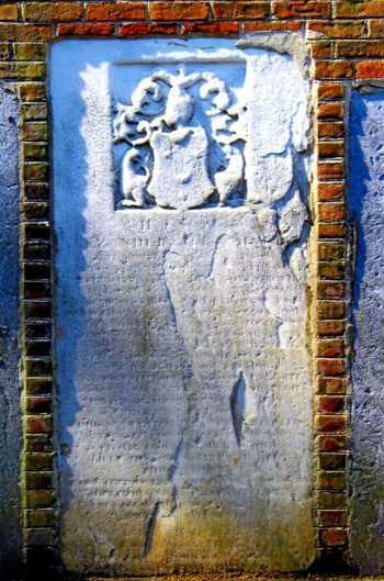 Tombstone embedded in wall of Presbyterian Historical Society, 2014.