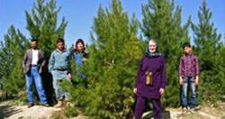 Afghans on Maranjan Hill, standing among trees that were planted as 12-inch saplings in 2005.