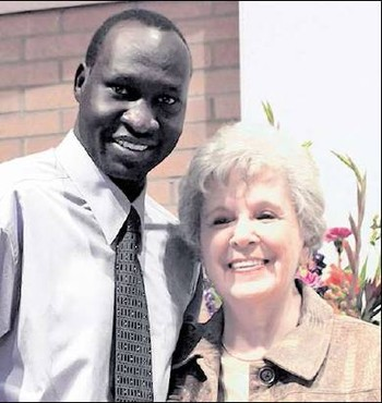 Starmount Presbyterian Church members Gai Ajak Riak, who came to the United States from Sudan, and Katherine Poole, a native of Greensboro.