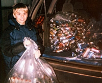 Nathan Hogue collected aluminum cans to raise money for PDA.