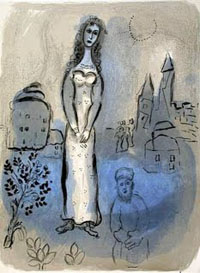A blue and grey charcoal image of a woman standing in a field with a man below her.
