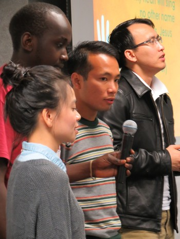 Lisa Ngantung, Daniel Kimandi, Peter Cuong Duong and Loc Dai Nguyen lead devotion.