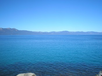 Lake Tahoe, seen here from the Donaldson Amphitheatre at Zephyr Point Presbyterian Conference Center, is 22 miles long, 1,600 feet deep, and the water temperature in mid-August is about 68 degrees.