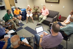 Chip Hardwick, director of Theology, Formation and eEducation, speaks about new worship resources with a breakout group at the mid-council meeting held prior to Big Tent 2015.