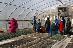 Special Offerings Ambassadors visit a greenhouse at Stony Point.