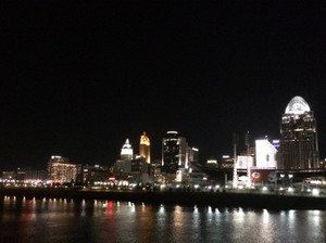 Cincinnati's skyline as seen from the Belle of Cincinnati on the Ohio River during the Pleasant Ridge 225th anniversary cruise.