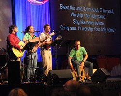 Joe Richardson, Scott Brown, Richard Richards and Scott Neely, all from Greensboro, N.C., provided music leadership at Big Tent 2013.