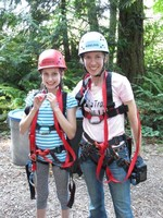 Abby Brockway and her daughter Sienna at Action Camp learning to climb.