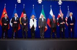 The ministers of foreign affairs of France, Germany, the European Union, Iran, the United Kingdom and the United States as well as Chinese and Russian diplomats announcing the framework for a Comprehensive agreement on the Iranian nuclear program (Lausanne, April 2, 2015).