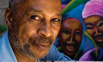James Noel in front of his painting 'Continuity' in 2009.