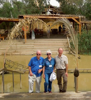 2014 MOP participants Sherman Skinner, Lorrie Rowland Skinner and Lawrence Bartel (l-r) at Jesus' baptismal site on the Jordan River.