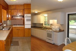 Before and after images of the Promise House kitchen.