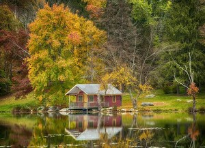 Lakeside Cabin sits in a serene setting on Denton Lake at Holmes Camp—55 miles north of New York City.