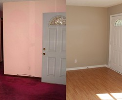 Before and after images of the Promise House living room entry.