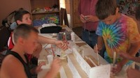 Russian children construct a model of the Temple of Solomon in Jerusalem.
