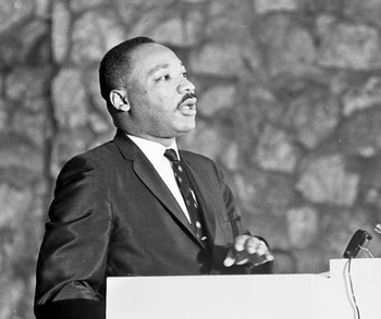The Rev. Dr. Martin Luther King Jr. speaking at Montreat Conference Center in 1965.