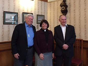 PC(USA) Moderator Heath Rada and the Rev. Dr. Laurie Kraus, coordinator for Presbyterian Disaster Assistance meet with Dr. Istvan Szabo, Bishop of the Reformed Church of Hungary in Budapest.