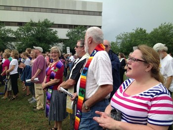 Members of Salem and New Hope presbyteries gathered on Moral Monday. From left to right: Alice Geils Nord, Bernie Nord, Bob Brizendine and Paula Applegate.