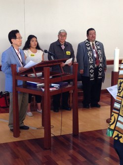 Representatives at the PC(USA) Chapel Native American Day include (left to right) Sun Bai Kim, Madison McKinney (Dakota/Choctaw), Corbett Wheeler (Nez Perce), and the Rev. Irv Porter.