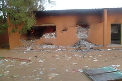 A Sunday School class still burning at the Evangelic Church of Niger in Boukoki II Niamey-Niger, after Islamists demonstrations on January 17th.
