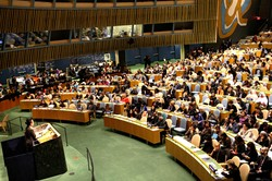 The opening of the 59th Session of the Commission on the Status of Women, held in the General Assembly Hall at United Nations Headquarters on 9 March 2015. During the meeting the Commission adopted a political declaration on the occasion of the 20th anniversary of the Fourth World Conference on Women.