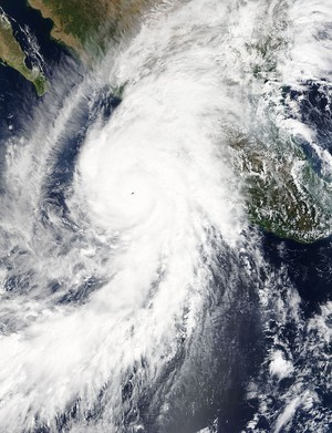 Hurricane Patricia at peak intensity and approaching the Western Mexico on October 23, 2015.