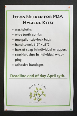 List of items requested for PDA hygiene kits at the Presbyterian Center in Louisville.