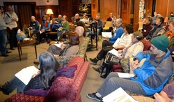 Ithaca's Interfaith Climate Action Network (ICAN) meets quarterly to discuss community-based earth care initiatives.