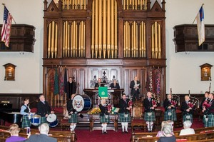 The Cincinnati Caledonian Pipe and Drum Band plays during the processional at Covenant-First Presbyterian Church's 225-year anniversary service Oct. 18, 2015.