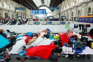 Syrian refugees at Budapest Keleti railway station, Sept 4, 2015.