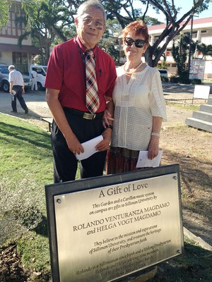 Rolando Venturanza Magdamo, a graduate of Silliman University, and his wife, Helga Vogt Magdamo, donated a Presbyterian Mission Garden and a Carillon music system to the school in honor of the centennial of the Silliman University Church (1906-2016).
