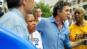"Monica Lewis-Patrick and Actor/Activist Mark Ruffalo at the ""Turn the Water On"" march in Detroit."