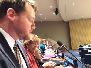 Ryan Smith (far left) from the Presbyterian Ministry at the United Nations addresses the 60th (2016) UN Commission on the Status of Women.