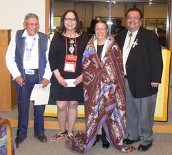 (Left to right) Ruling Elder Ralph Scissons of the Presbytery of Nevada; Ruling Elder Fern Cloud of the Presbytery of Dakota; Ruling Elder Elona Street-Stewart; and Irv Porter, associate for Native American congregational support in the PC(USA).