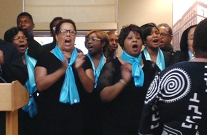 Bidwell Street United Presbyterian Church choir leads SDOP's 45th anniversary celebration in song.