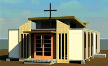 An engineering design depicts what a new church shelter built out of shipping containers will look like in Bohol in the Philippines.
