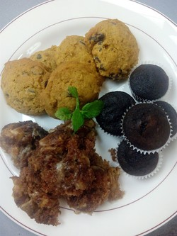 Butter nut squash cookies, apple cake, and chocolate beet cupcakes.