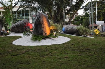 The Presbyterian Mission Garden at Silliman University features three legacy rocks, symbolizing the missional priorities to teach, preach and heal.