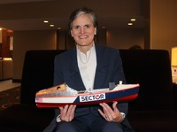 Tori Murden McClure, president of Spalding University in Louisville, Ky., poses with a replica of the rowboat she used in 1999 to become the first woman to row alone across the Atlantic Ocean. She had just spoken to fellow presidents of the National Association of Independent Colleges and Universities in Washington, D.C., on Feb. 4, 2015