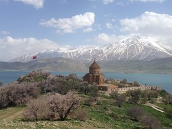 The Armenian Church of the Holy Cross on Akdamar Island, Lake Van in Turkey.