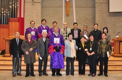 Rev. Dr Olav Fykse Tveit with the WCC President for Asia Rev. Dr Sang Chang and representatives of the Presbyterian Church in the Republic of Korea and the Board of Directors of Hanshin University.