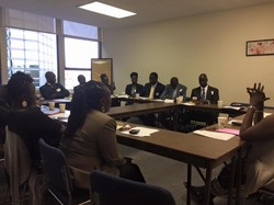 Representatives of South Sudanese communities meet with staff at the Presbyterian Ministry at the United Nations.