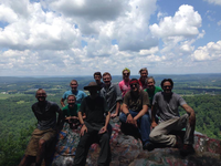 Santos (far right) led a pilgrimage trip on the Appalachian Trail with New Wilmington Presbyterian Church in western PA.