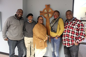 Presbyterian Mission Agency staff hosted representatives from Sierra Leone. (Left to Right) Valery Nodem, PHP international associate; Winston Carro, WAI program director; Cynthia White, SDOP coordinator; Ebun James-DeKam and Luke Asikoye, PDA international associate.