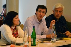 Darío Barolín (center) at the WCRC's Accra global discussion.