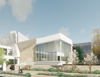 Contemporary architecture featuring natural light and green spaces are qualities of the 'Open Doors Open Futures' project at Westminster Presbyterian Church in Minneapolis.