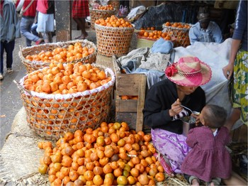 Tangerines from the village of Beambiaty in mid-western Madagascar are sold at a market in Antananarivo, Madagascar.