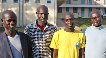 Omot Ochalla, Alimo Cham, George Okach, Daniel Nyigwo, PC(USA) scholarship recipients at Yei Teacher Training College in South Sudan.