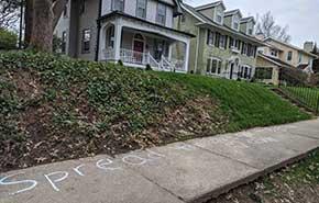 chalk sidewalk stay positive text