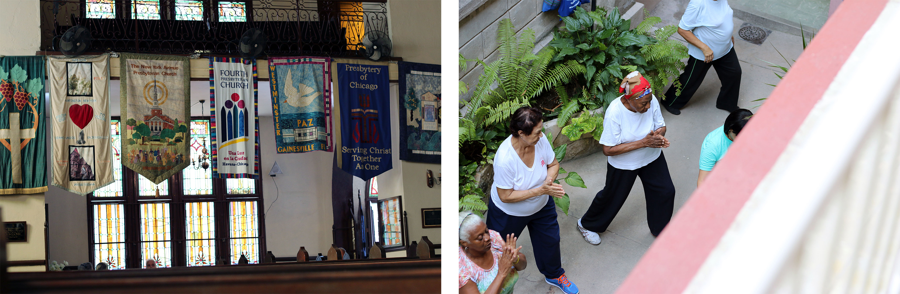 Left: Banners of partner churches in the United States hang along the rear balcony of the sanctuary. (Photo by Fred Tangeman) | Right: This urban church serves the local community in a myriad of ways including a weekly yoga session. (Photo by Randy Hobson)